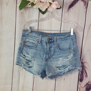 AEO   Distressed Denim Shorts